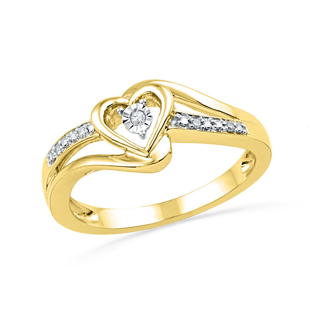 Diamond Heart Promise Bridal Ring .03 Cttw 10kt Yellow Gold