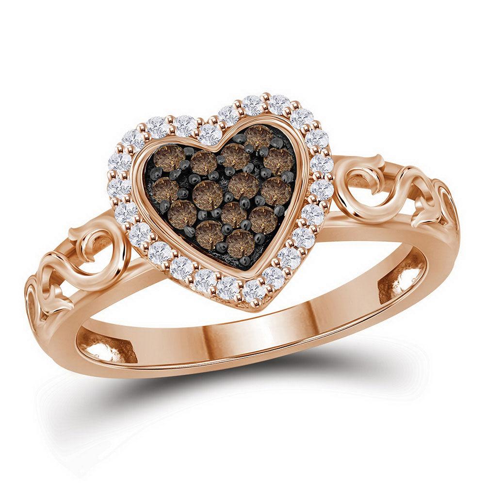 Round Brown Diamond Heart Ring 1/4 Cttw 10kt Rose Gold