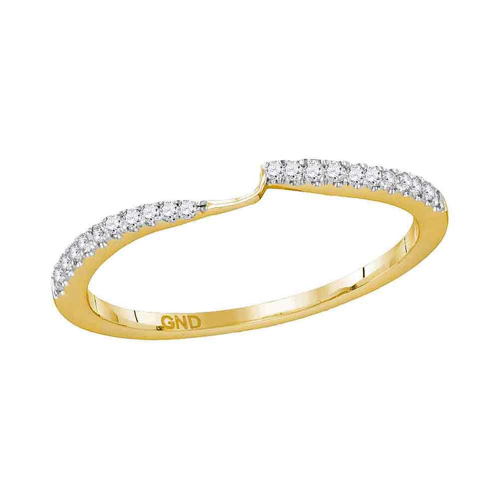 Diamond 2-stone Wedding Band 1/10 Cttw 14kt Yellow Gold