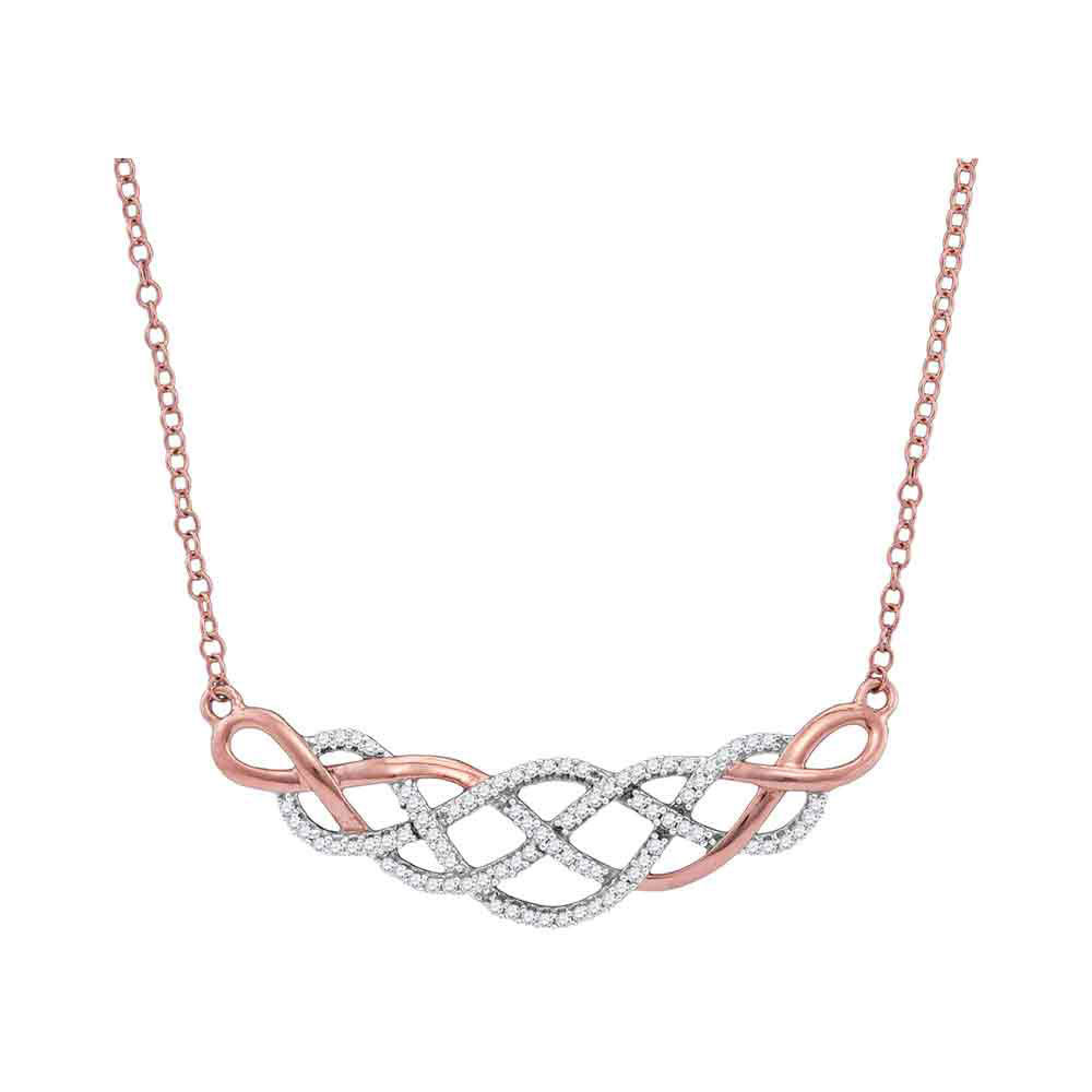 Diamond Woven Strand Cluster Necklace 1/4 Cttw 10kt Rose Gold