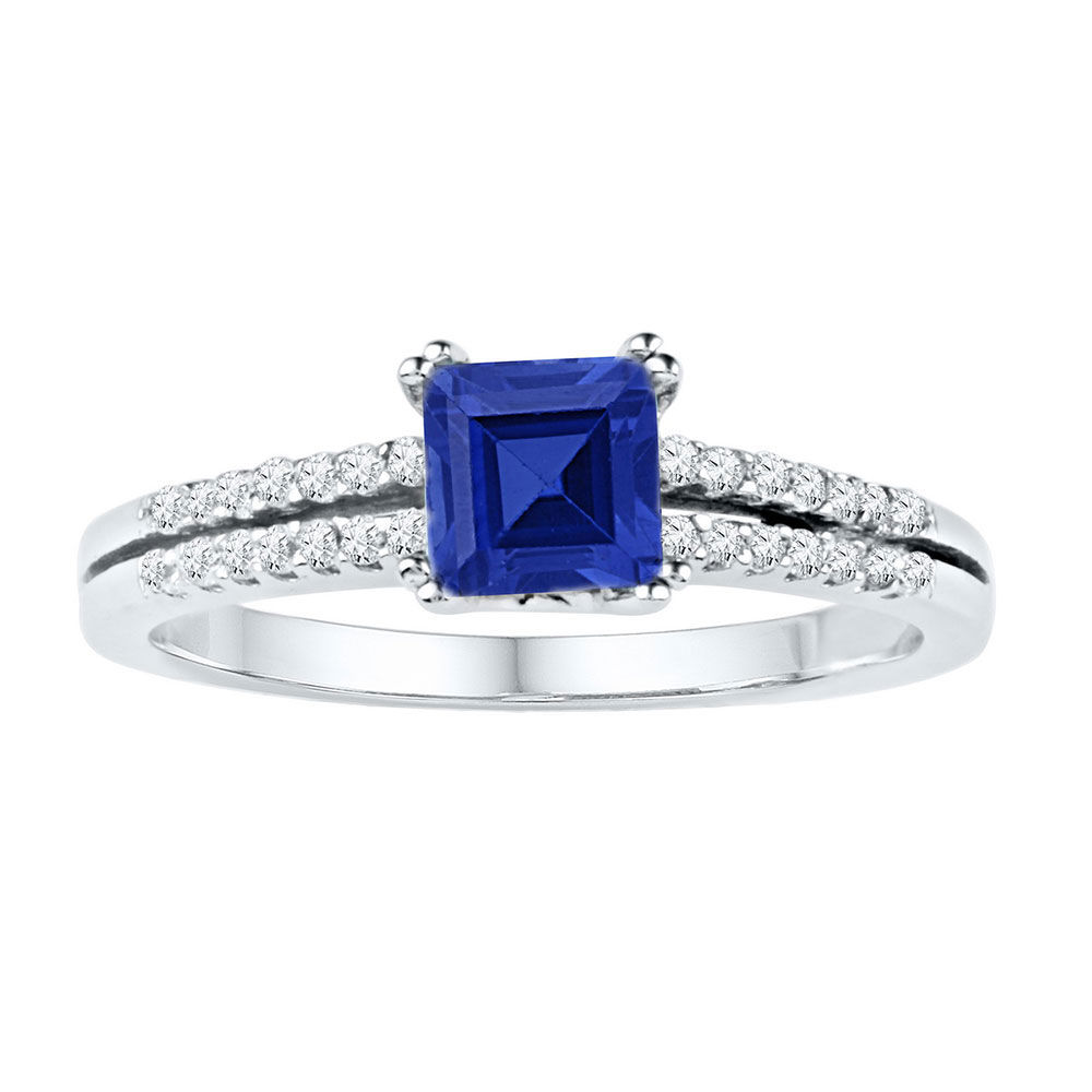 Lab-Created Blue Sapphire Solitaire Ring 1.00 Cttw 10kt White Gold