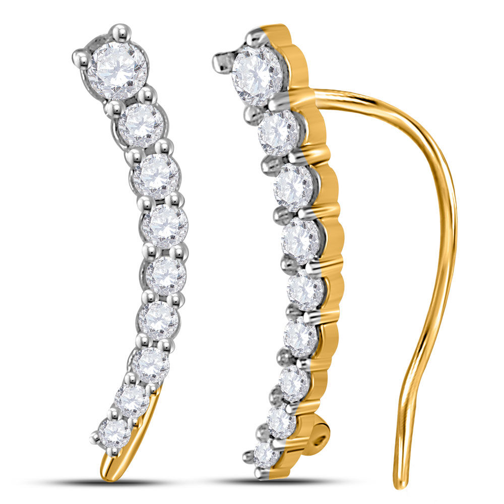 Diamond Graduated Journey Climber Earrings 1/4 Cttw 10kt Yellow Gold