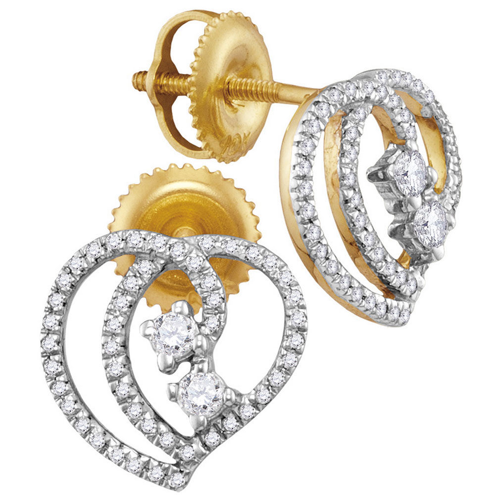 Diamond 2-stone Heart Earrings 1/4 Cttw 10kt Yellow Gold