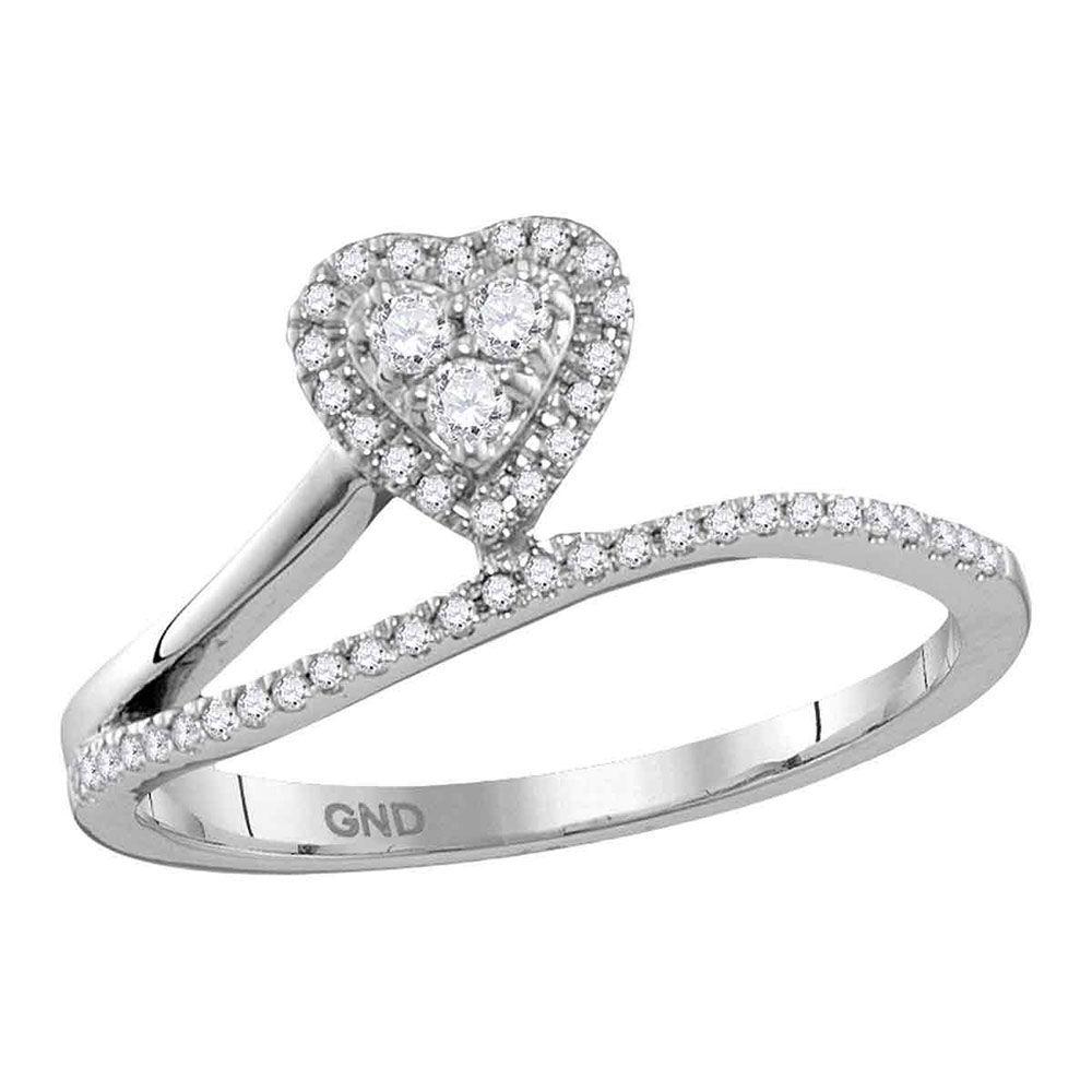 Diamond Slender Heart Band Ring 1/5 Cttw 10kt White Gold