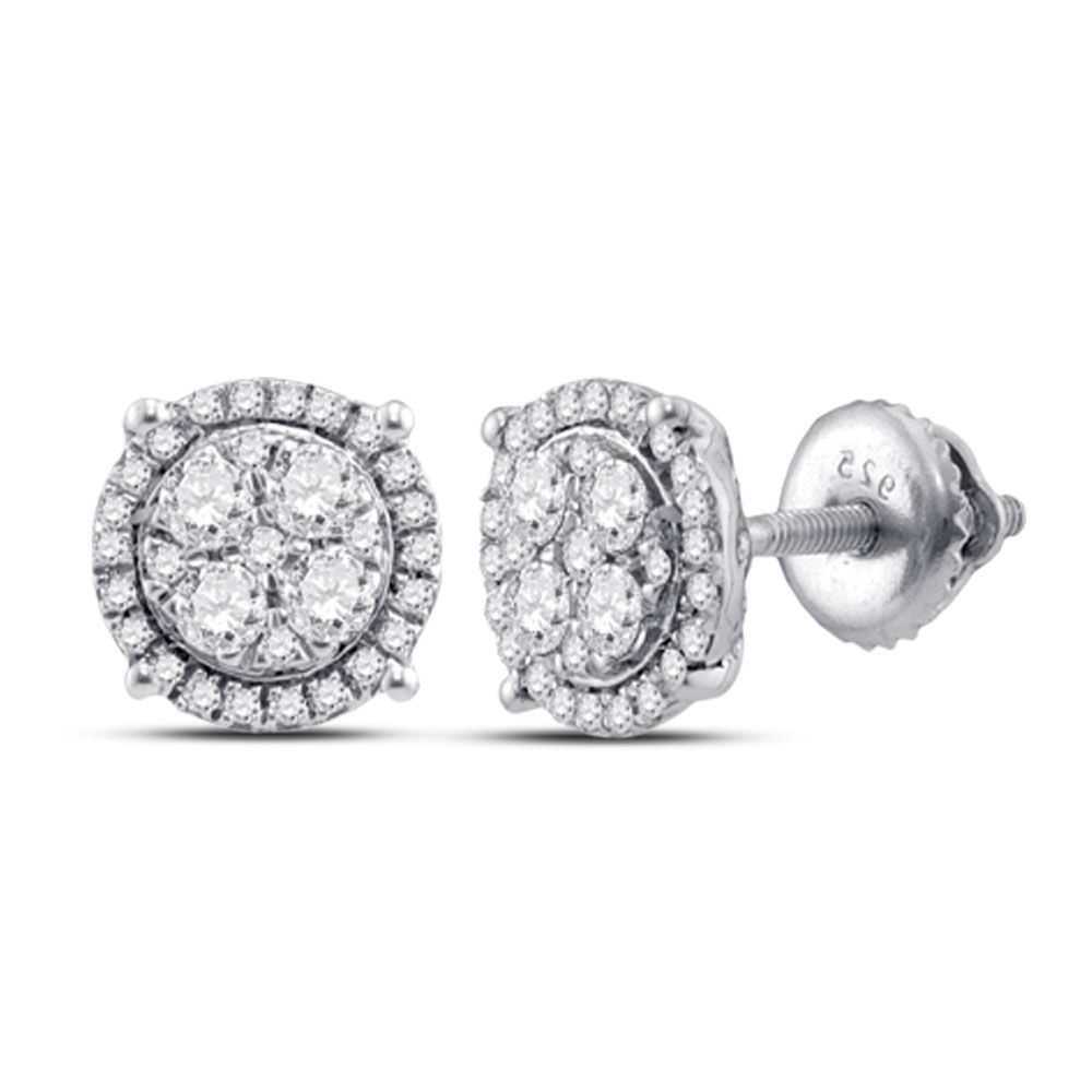 Diamond Circle Cluster Earrings 1/4 Cttw 10kt White Gold