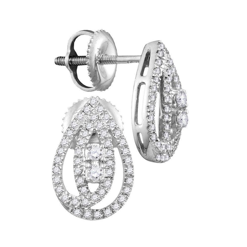 Diamond 2-stone Teardrop Stud Earrings 1/4 Cttw 10kt White Gold