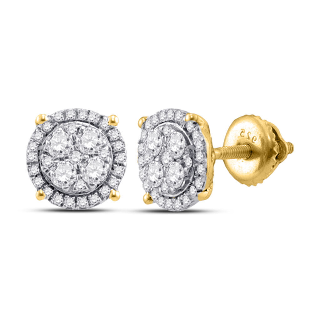 Diamond Cindy's Dream Cluster Earrings 1/4 Cttw 10kt Yellow Gold