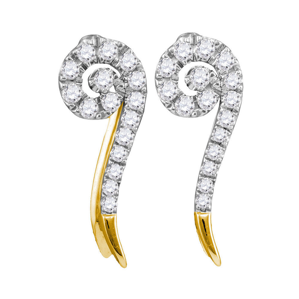 Diamond Curled Stud Earrings 1/4 Cttw 10kt Yellow Gold