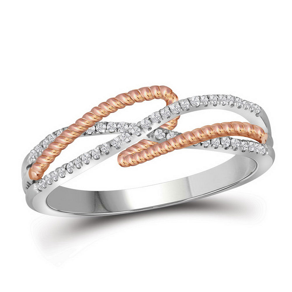 Diamond Rope Fashion Band Ring 1/6 Cttw 10kt White Gold