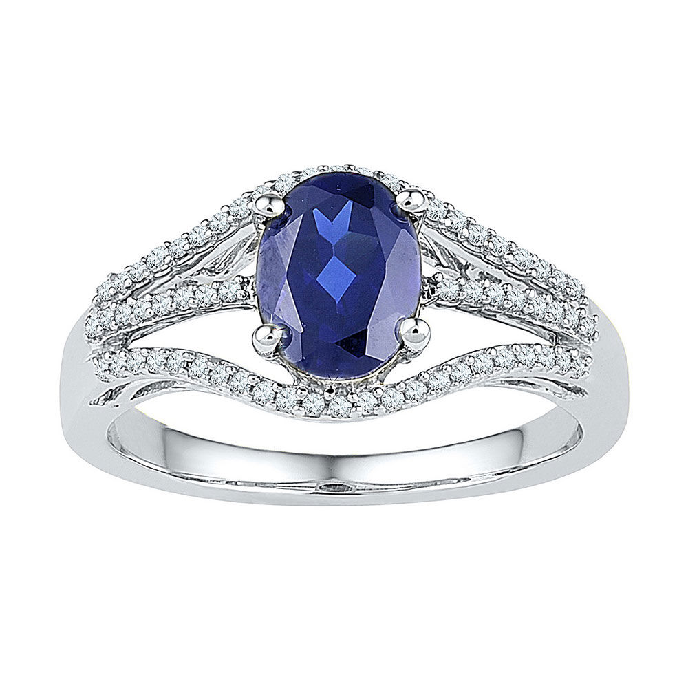Oval Lab-Created Blue Sapphire Solitaire Diamond Ring 1-3/4 Cttw 10kt White Gold