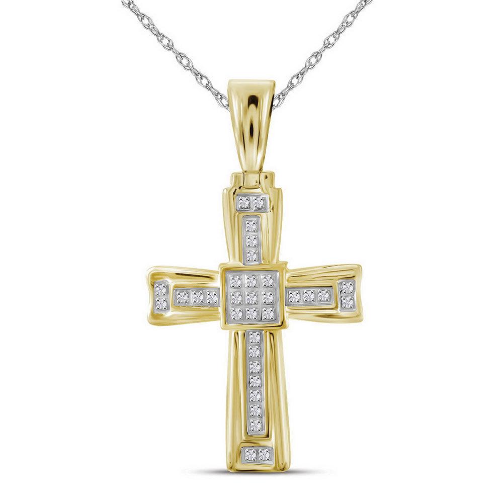 Mens Diamond Cross Religious Charm Pendant 1/10 Cttw 10kt Yellow Gold