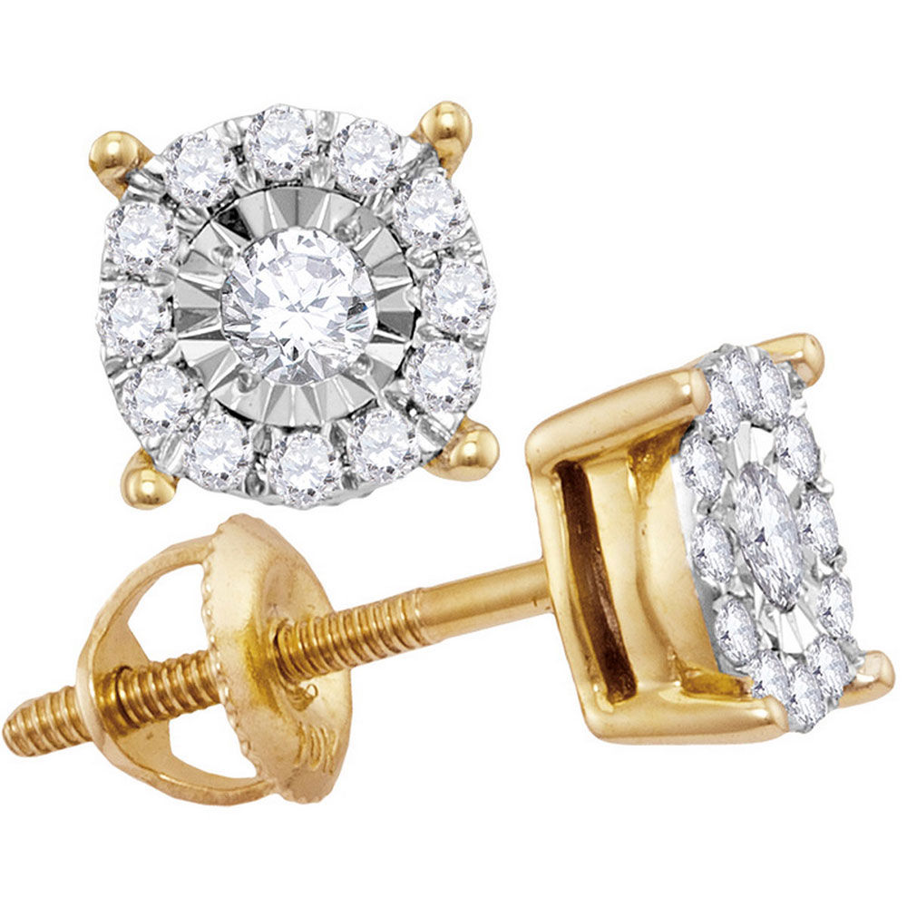 Diamond Solitaire Cluster Stud Earrings 1/4 Cttw 10kt Yellow Gold