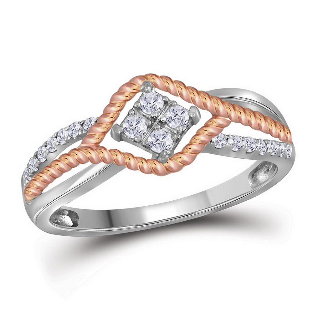Diamond Rope Rose-tone Band Ring 1/5 Cttw 10kt Two-tone Gold