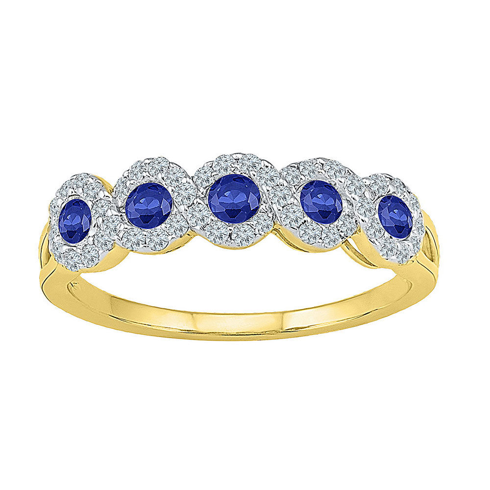 Round Lab-Created Blue Sapphire Band Ring 1/2 Cttw 10kt Yellow Gold