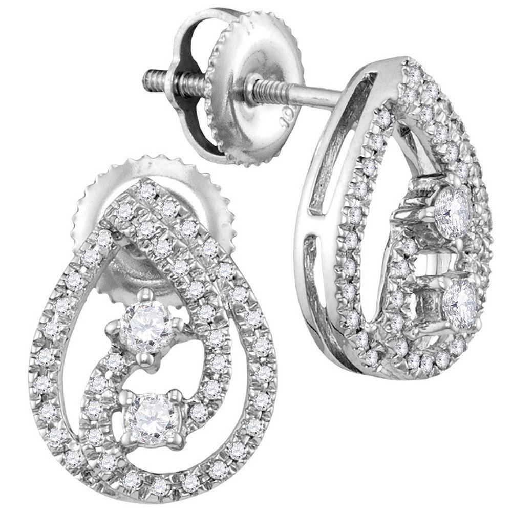 Diamond 2-stone Teardrop Screwback Earrings 1/4 Cttw 10kt White Gold