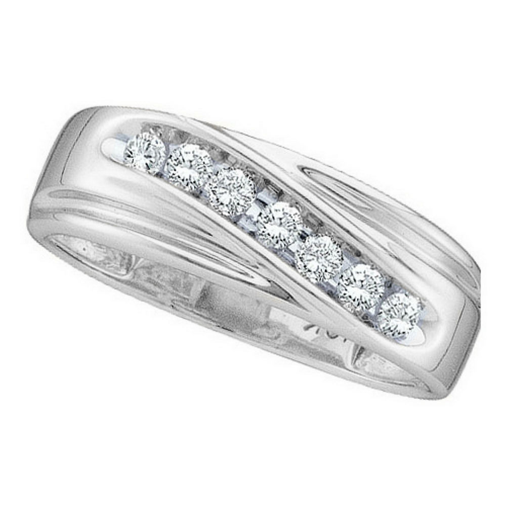 Mens Round Channel-set Diamond Single Row Wedding Band Ring 1/4 Cttw 10kt White Gold
