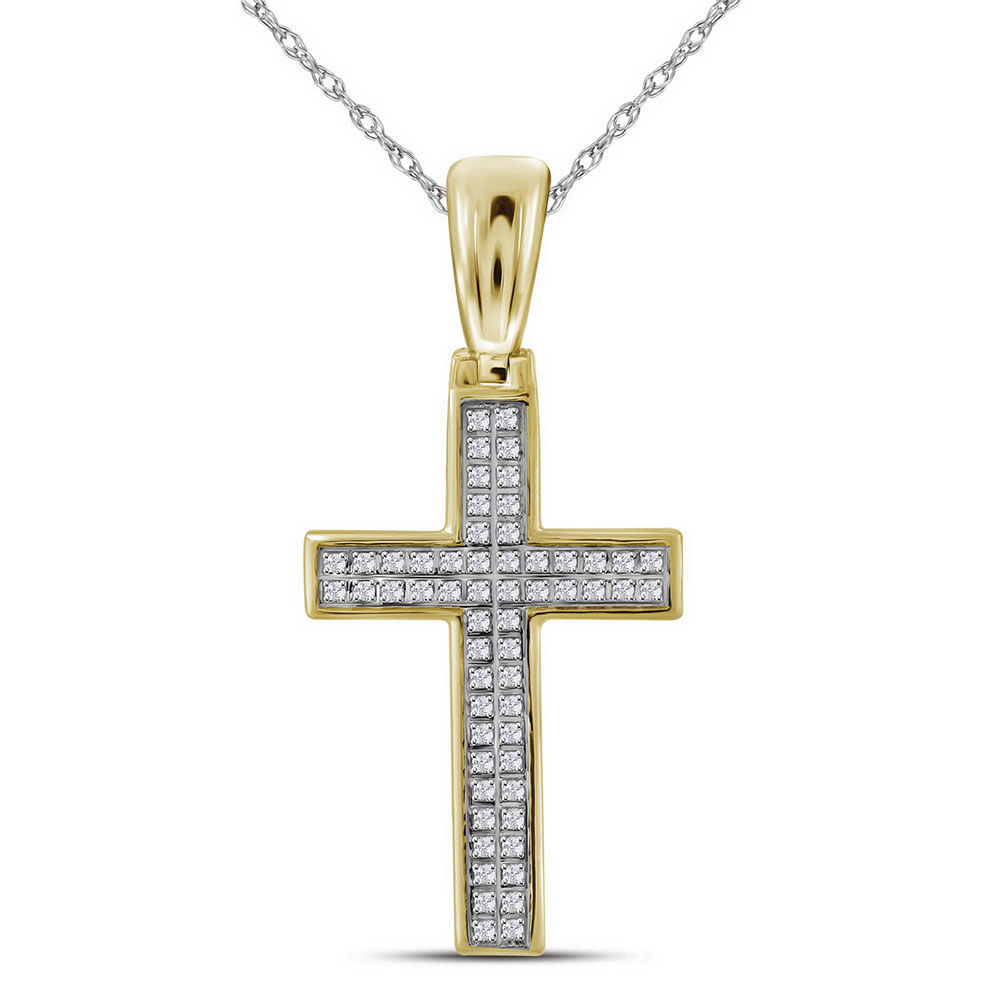 Mens Diamond Small Cross Religious Charm Pendant 1/6 Cttw 10kt Yellow Gold