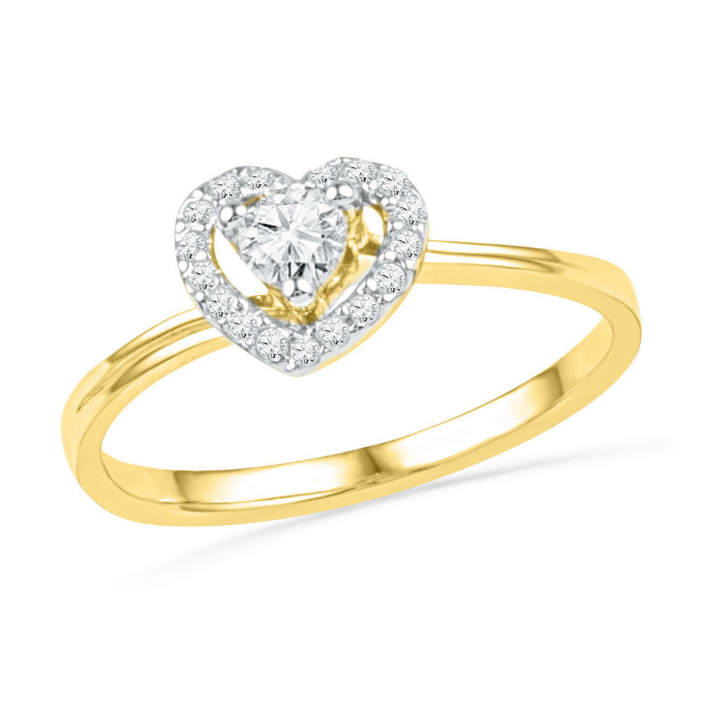 Diamond Heart Promise Bridal Ring 1/4 Cttw 10kt Yellow Gold