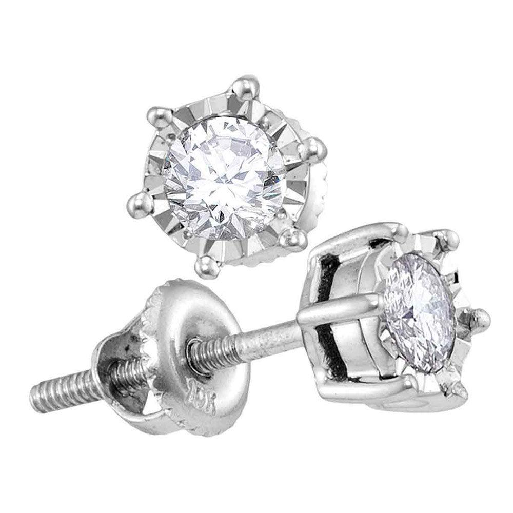 Diamond Solitaire Screwback Stud Earrings 1/4 Cttw 10kt White Gold