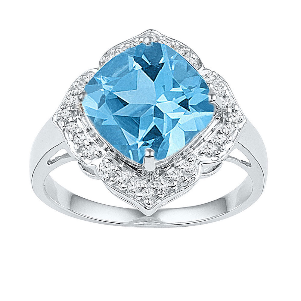 Lab-Created Blue Topaz Solitaire Ring 5.00 Cttw 10kt White Gold