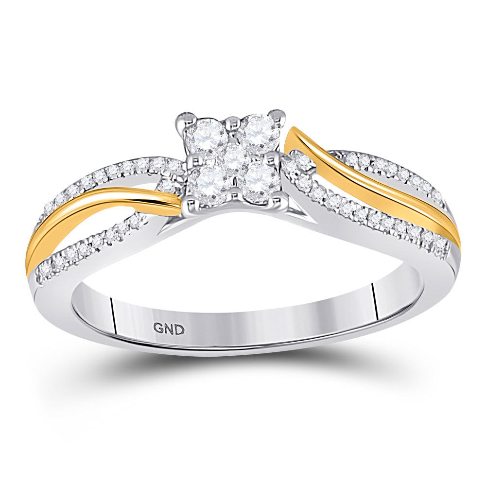 Diamond Cluster Promise Bridal Ring 1/4 Cttw 10kt Two-tone Gold
