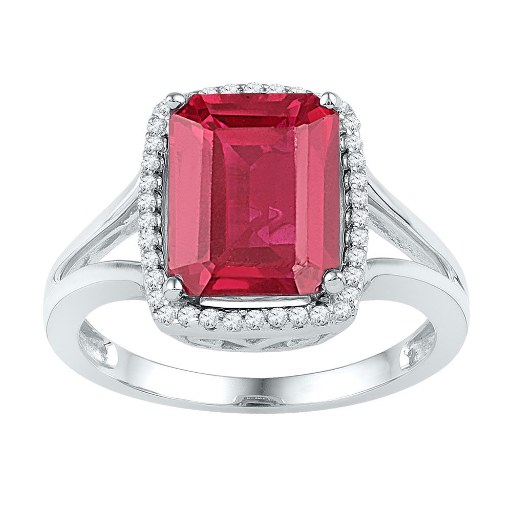 Emerald Lab-Created Ruby Solitaire Diamond Ring 4-5/8 Cttw 10kt White Gold