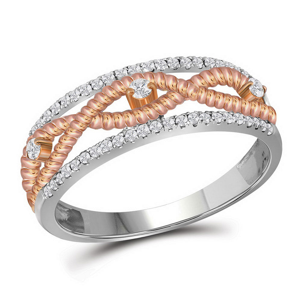 Diamond Rose-tone Rope Twist Band 1/4 Cttw 10kt White Gold