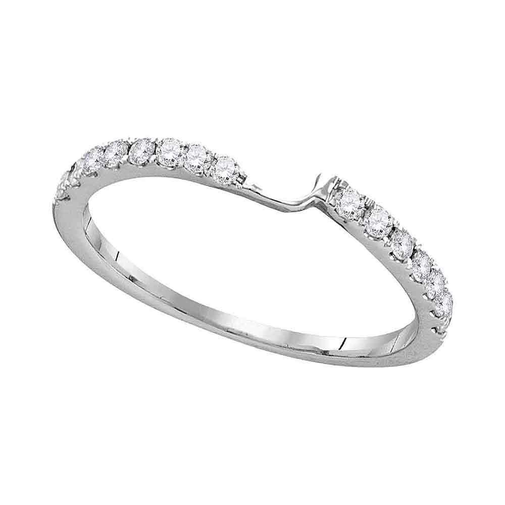 Diamond 2-stone Wedding Band 1/4 Cttw 14kt White Gold
