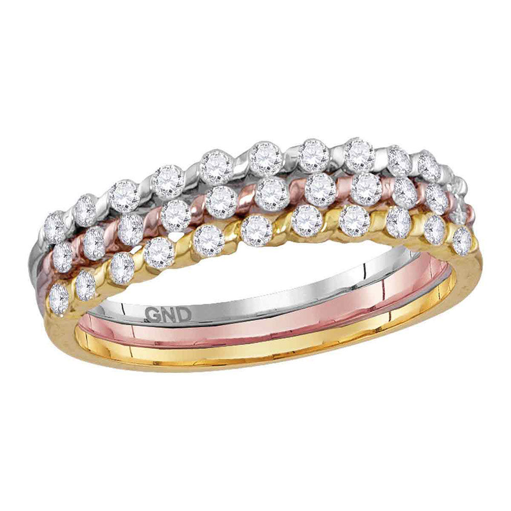 Diamond Band Ring 1/2 Cttw 10kt Tri-tone Gold