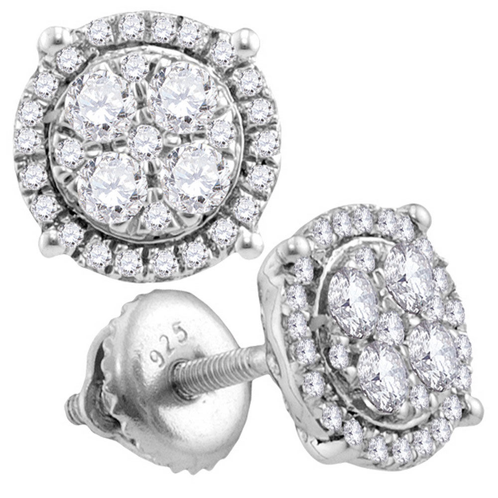 Diamond Circle Cluster Earrings 1/2 Cttw 10kt White Gold
