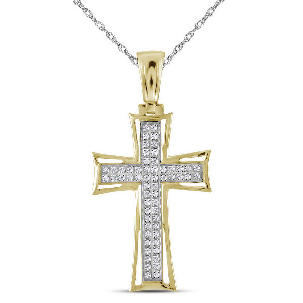Mens Diamond Flared Cross Charm Pendant 1/6 Cttw 10kt Yellow Gold