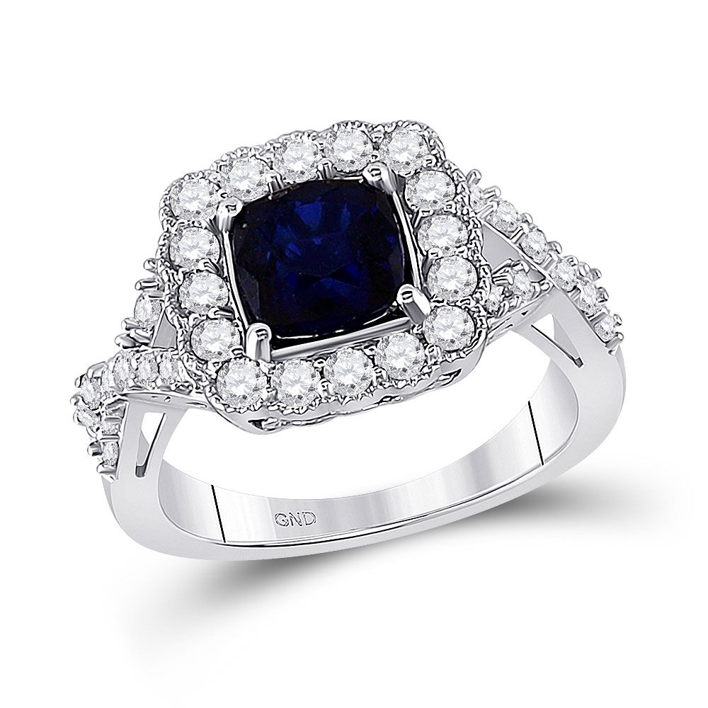 Lab-Created Blue Sapphire Solitaire Ring 3-3/4 Cttw 10kt White Gold
