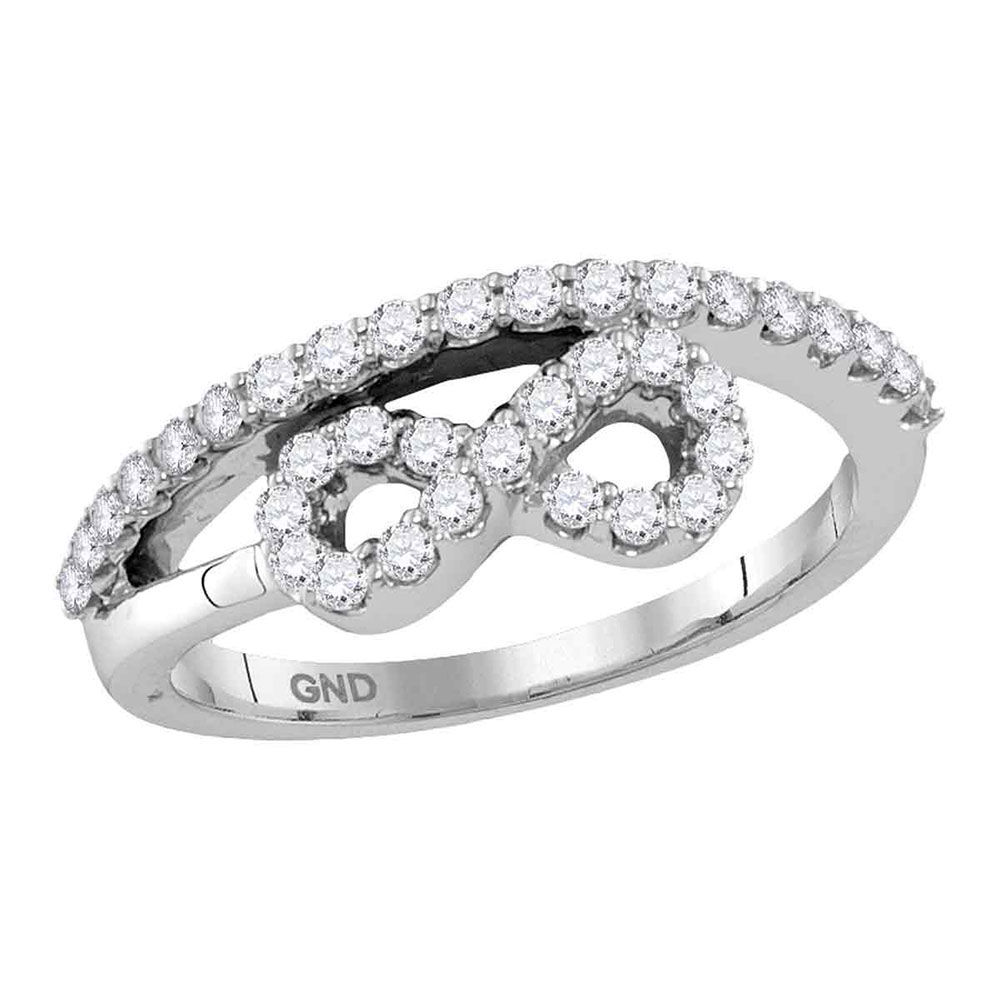 Diamond Woven Infinity Band Ring 1/2 Cttw 10kt White Gold