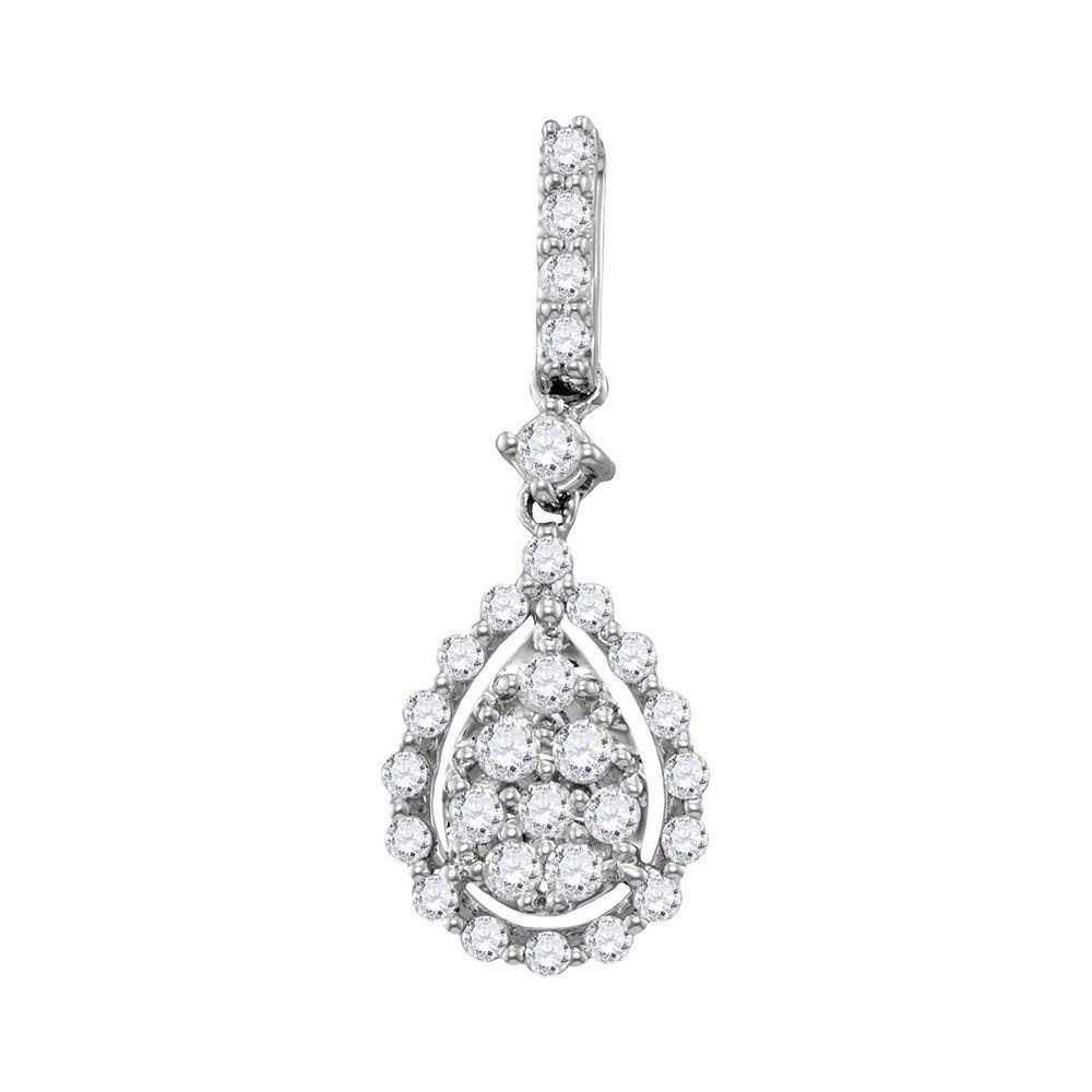 Diamond Cluster Pendant 1/2 Cttw 14kt White Gold