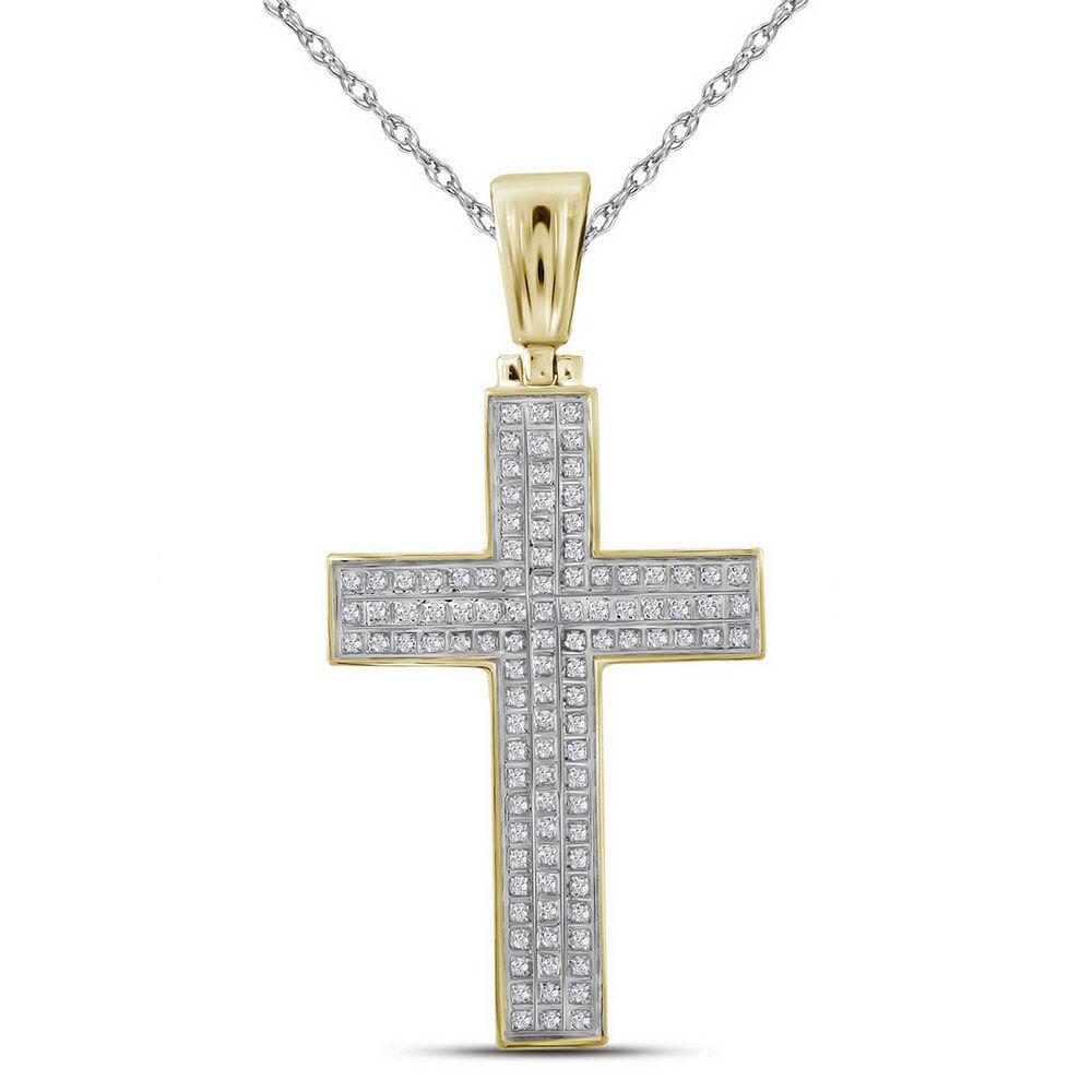Mens Diamond Cross Raised Charm Pendant 1/3 Cttw 10kt Yellow Gold