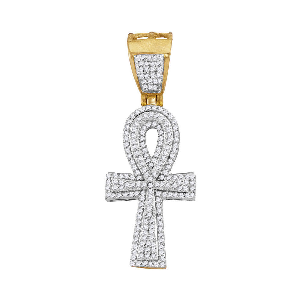 Mens Diamond Ankh Cross Religious Charm Pendant 1/2 Cttw 10kt Yellow Gold