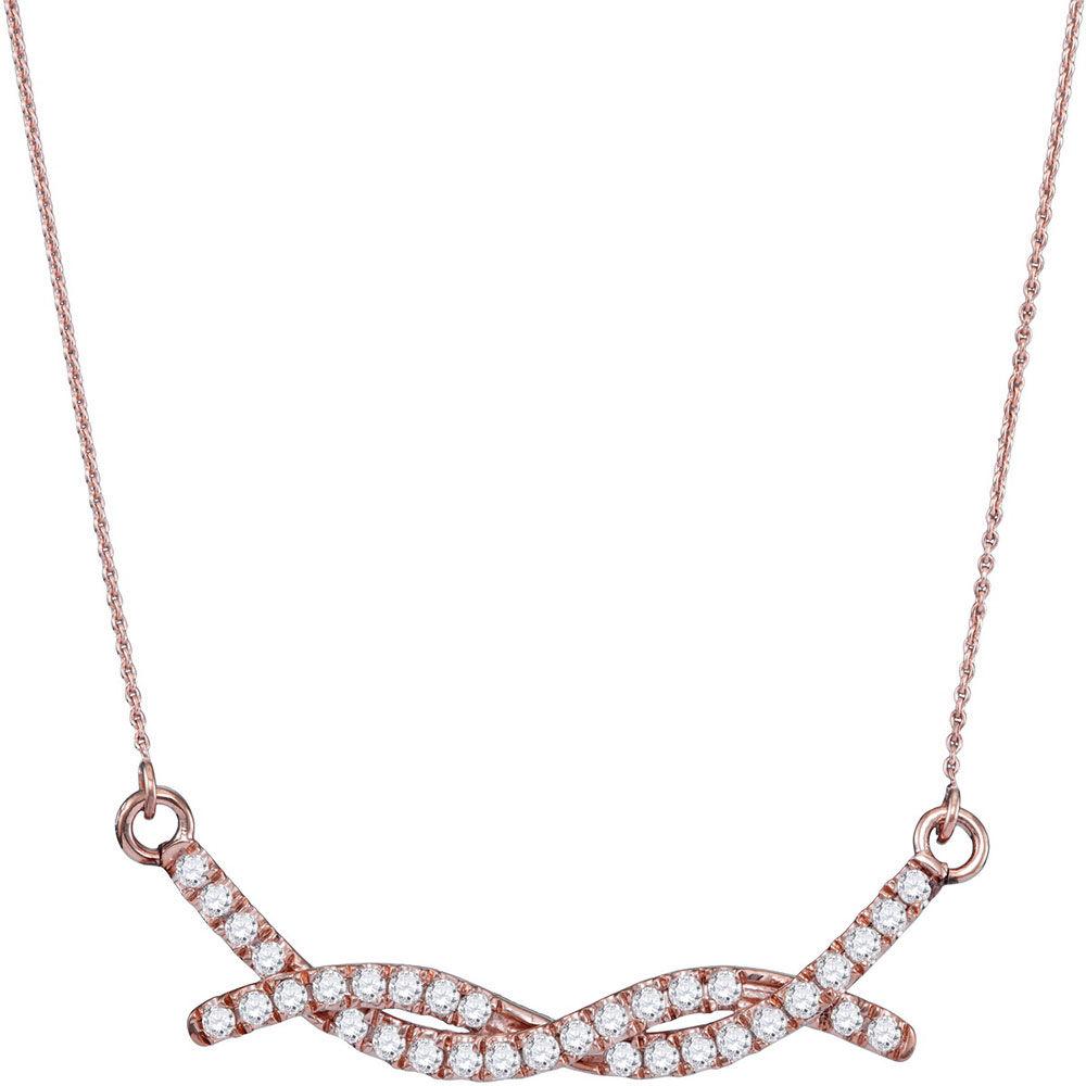 Diamond Twist Bar Fashion Necklace 1/2 Cttw 10kt Rose Gold