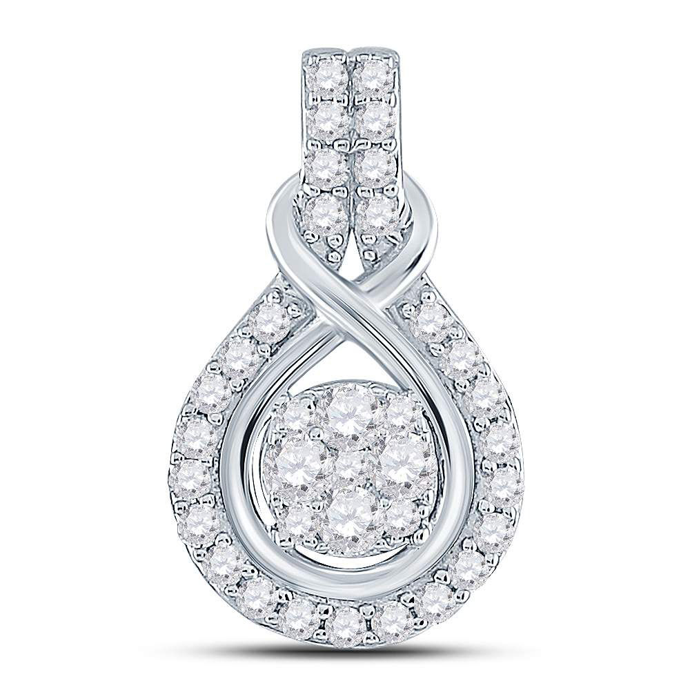 Diamond Cluster Pendant 1/2 Cttw 10kt White Gold