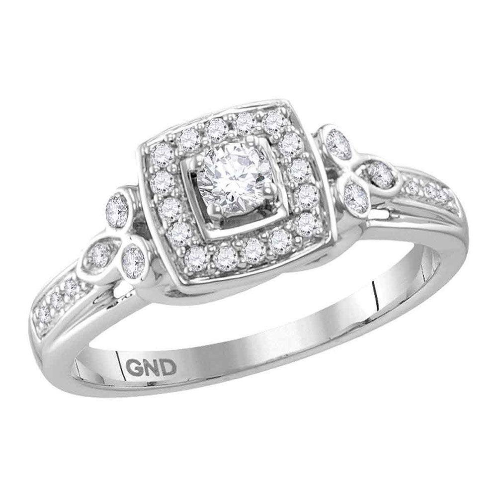 Diamond Round Halo Bridal Wedding Engagement Ring 1/3 Cttw 10kt White Gold
