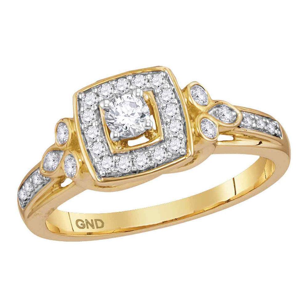 Diamond Round Halo Bridal Wedding Engagement Ring 1/3 Cttw 10kt Yellow Gold