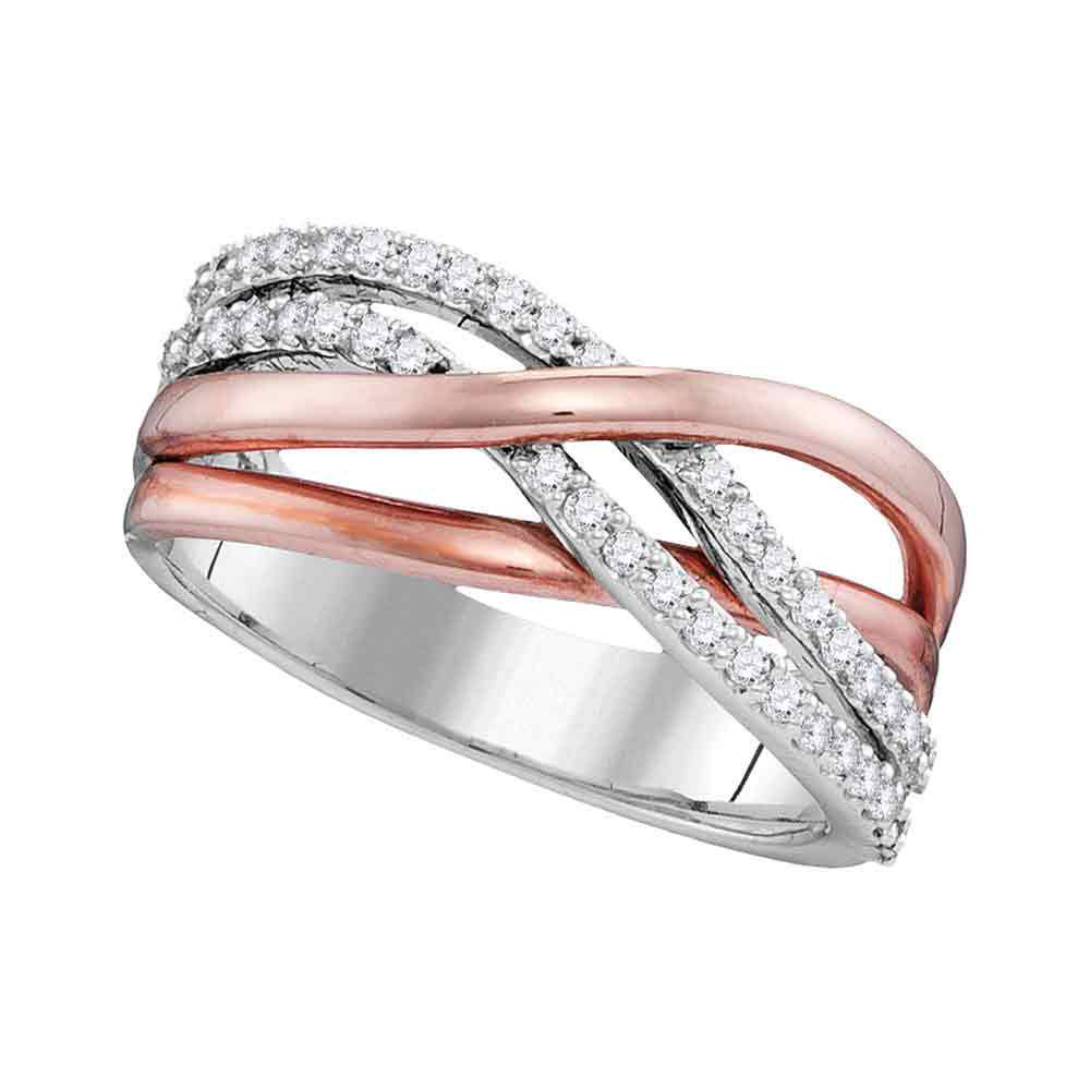 Rose-tone Diamond Crossover Band Ring 1/3 Cttw 10kt White Gold