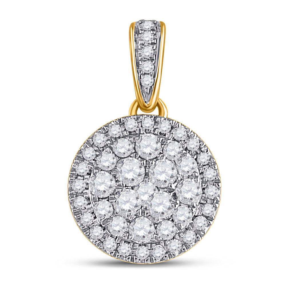 Diamond Halo Cluster Pendant 1/2 Cttw 14kt Yellow Gold