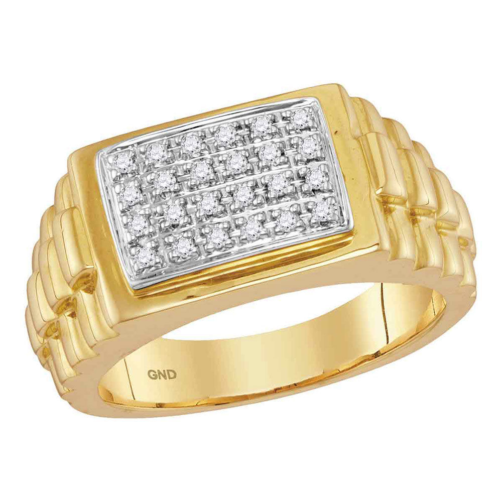 Mens Diamond Rectangle Cluster Ribbed Side Ring 1/5 Cttw 10kt Yellow Gold