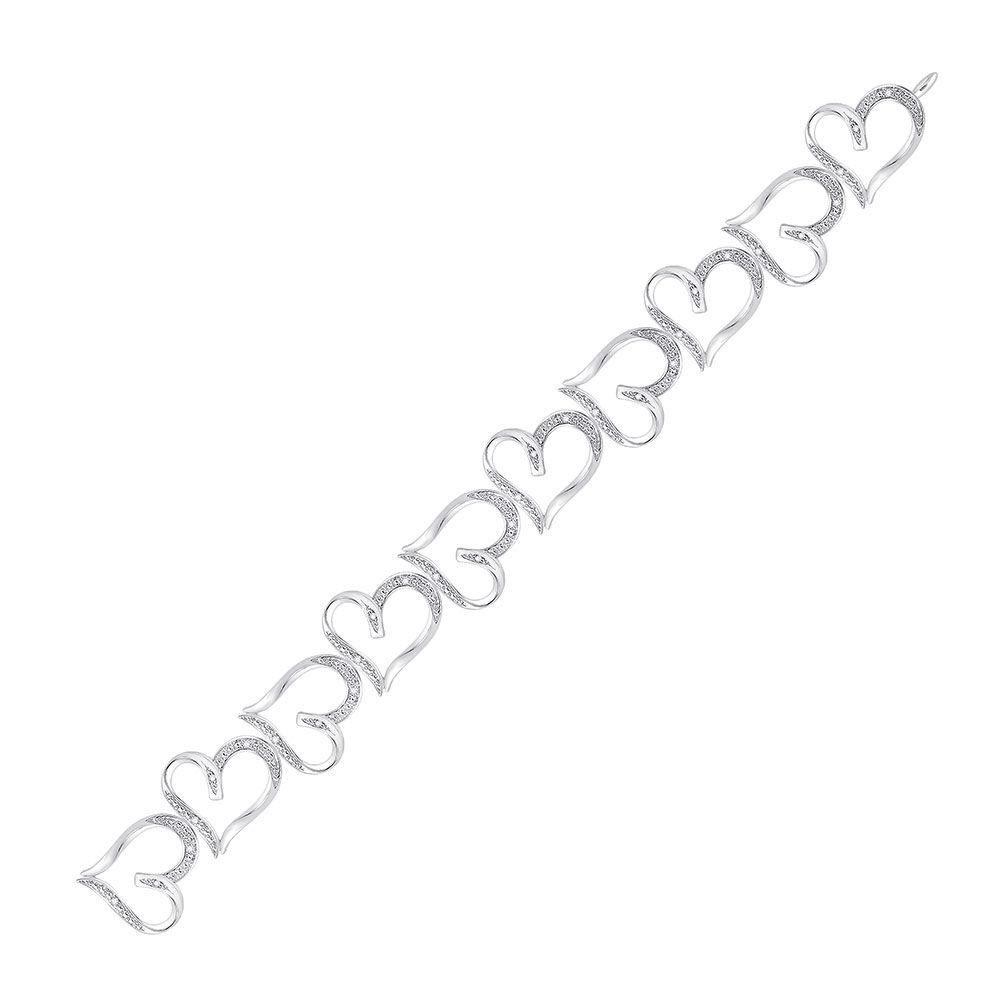 Diamond Heart Bangle Bracelet 1/8 Cttw 10kt White Gold
