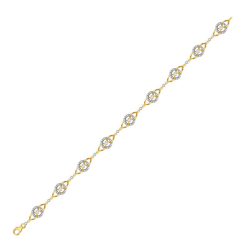 Diamond Linked Circle Fashion Bracelet 1/2 Cttw 10kt Yellow Gold