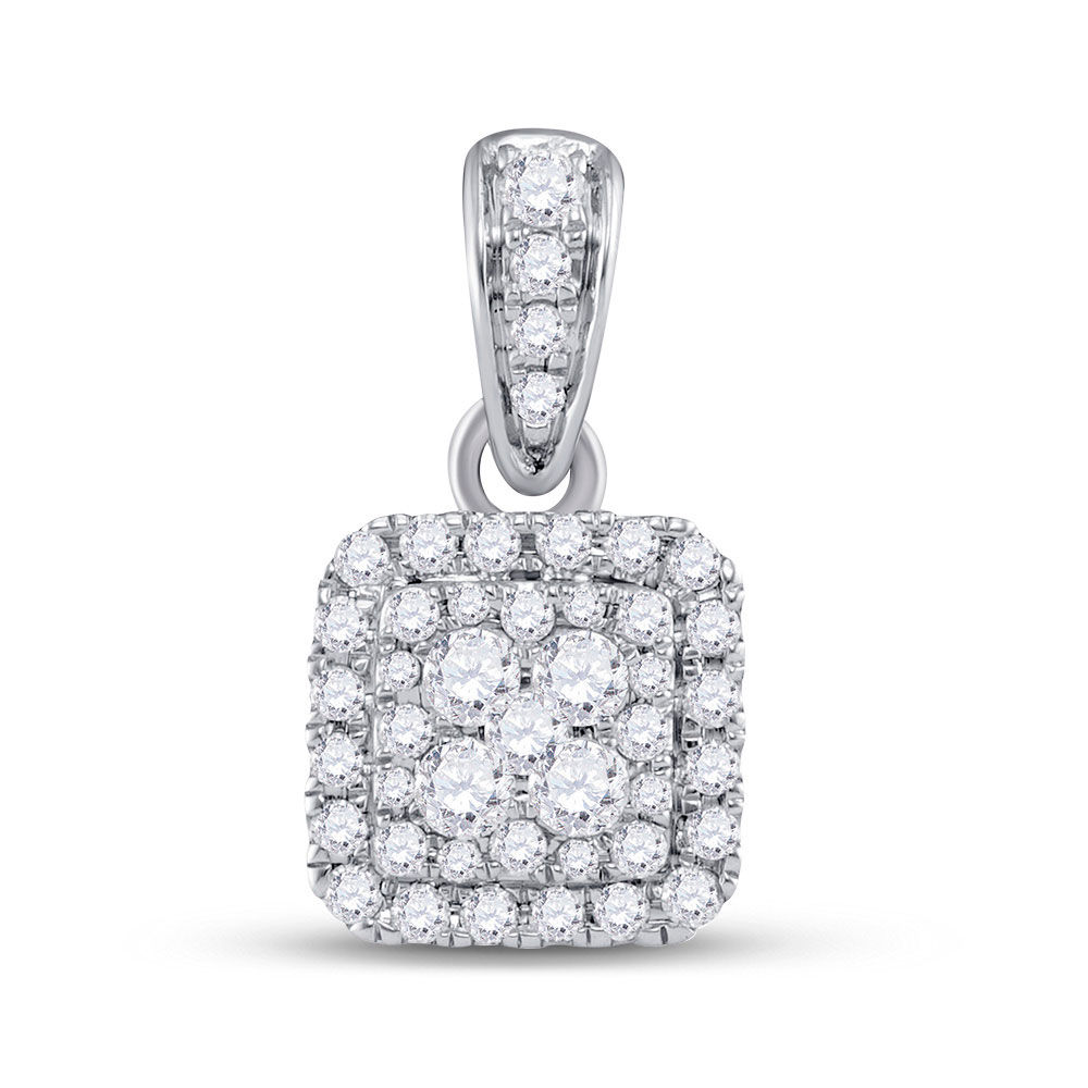 Diamond Square Cluster Pendant 1/2 Cttw 14kt White Gold