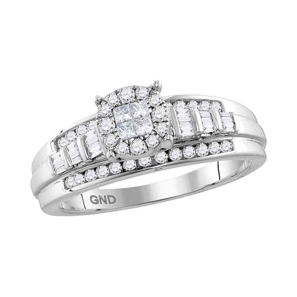 Diamond Cluster Bridal Wedding Engagement Ring 1/2 Cttw 10kt White Gold