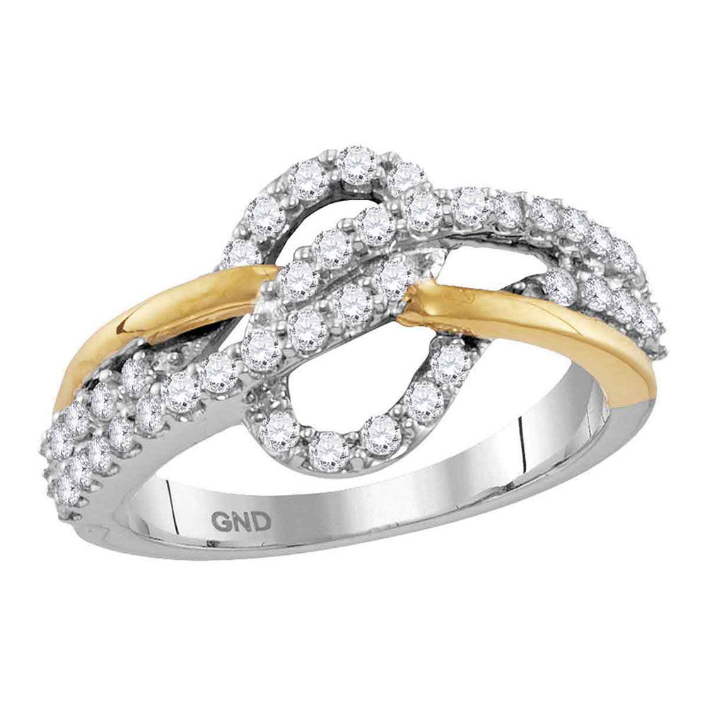 Diamond Woven Band Ring 5/8 Cttw 10kt Two-tone White Yellow Gold