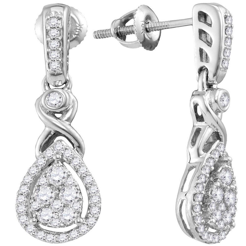 Diamond Teardrop Cluster Dangle Earrings 1/2 Cttw 10kt White Gold