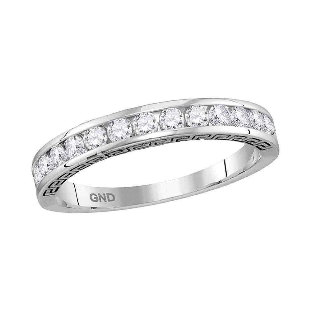 Round Channel-Set Diamond Single Row Wedding Band 1/2 Cttw 14kt White Gold